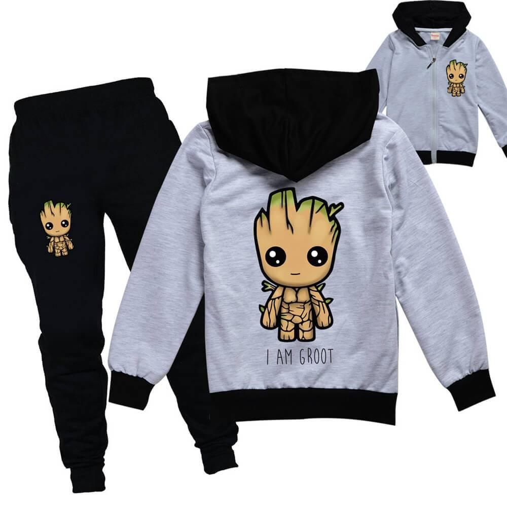 I Am Groot Baby Print Girls Boys Cotton Jacket And Joggers Outfit Suit