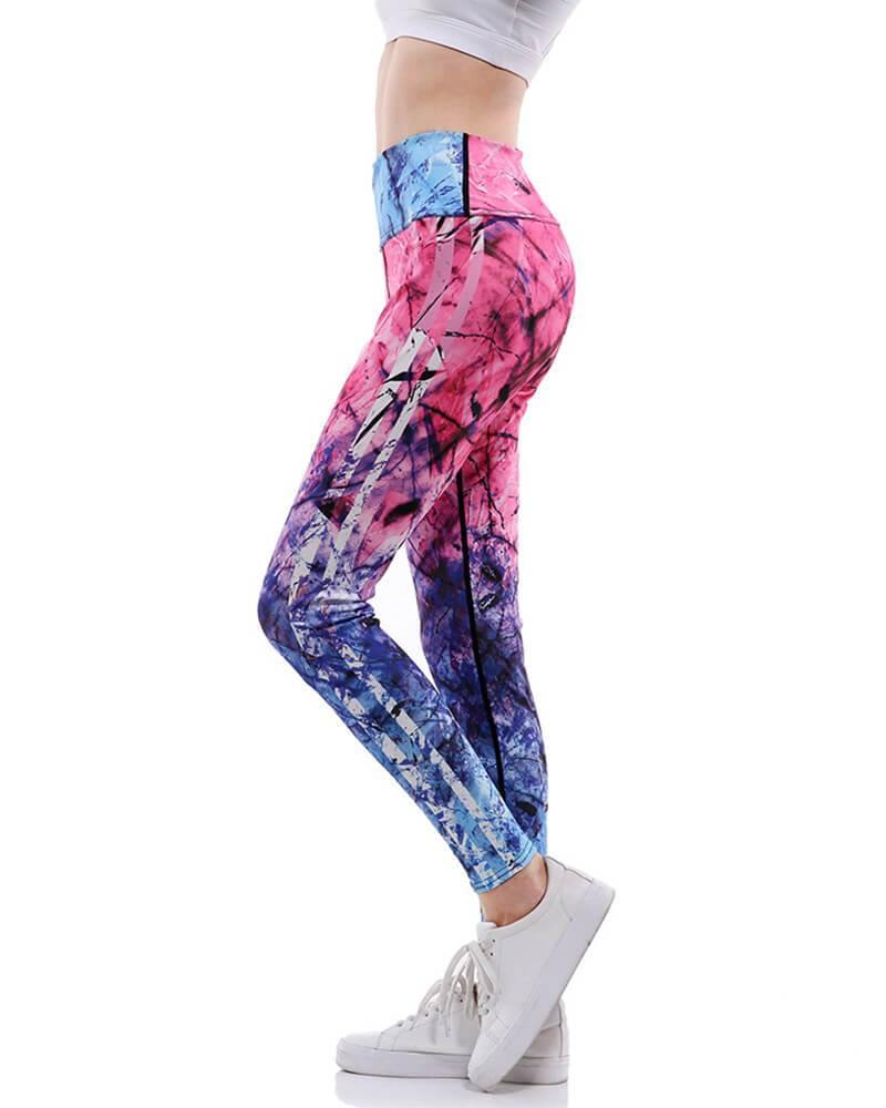 937712c2ac3a8 Abstract Pink Blue Ombre Marble Print Yoga Gym Active Hi-Rise Leggings