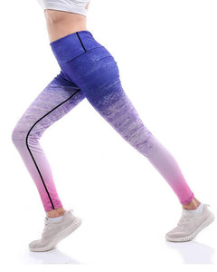 Abstract Pink Blue Ombre Tie Dye Printed Active Gym Yoga Leggings