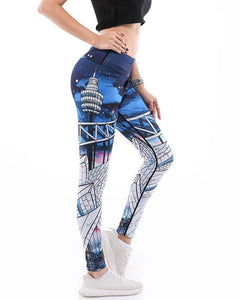 Famous Bridge Printed Wide Waistband Active Gym Yoga Leggings Blue