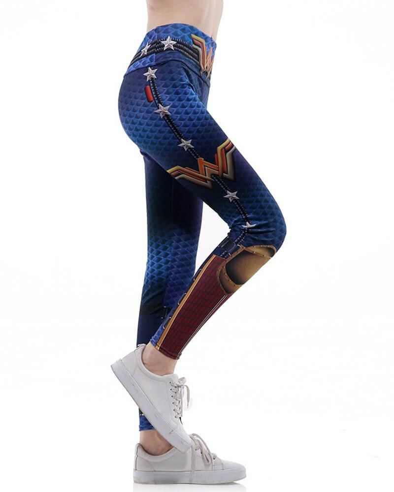 2735ab3a4a4832 Wonder Woman Fishnet Printed Wide Waistband Active Yoga Gym Leggings ...