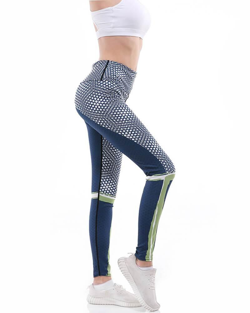 Honeycomb Design Colorblock Wide Waistband Active Yoga Gym Leggings