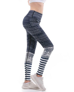 Geometric Stripes Printed Grey Wide Waistband Active Yoga Gym Leggings