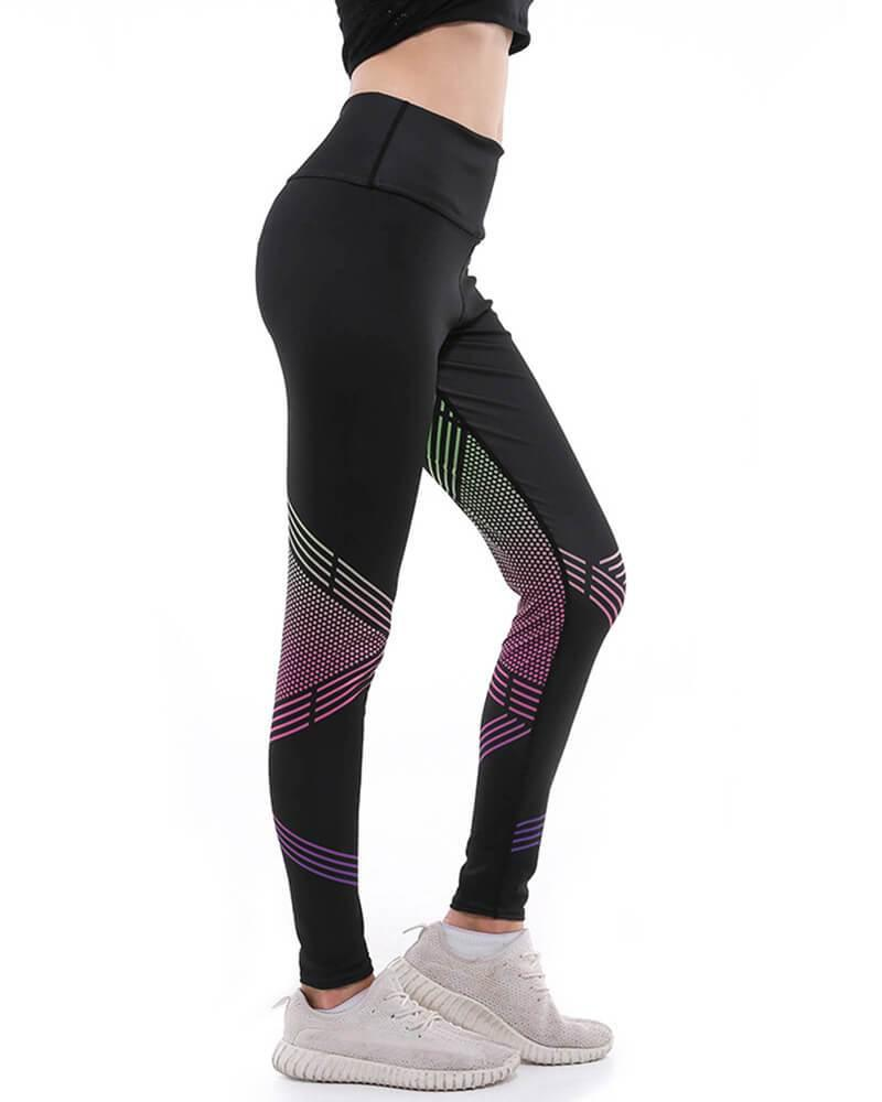 058243435472e3 Stripes And Polka Dots Printed Breathable Flex Yoga Gym Black Leggings