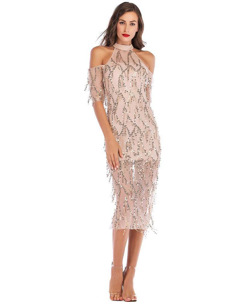 Sequin Tassel Lace Overlay Cold Shoulder Half Sleeves Party Midi Dress