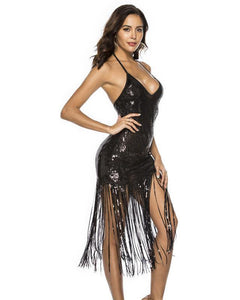 Black Halter Open Back All Sequins Fringe Hem Party Latin Dance Dress
