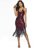 Halter Red Blue Patterned Sequin Fringe Latin Dance Party Dress