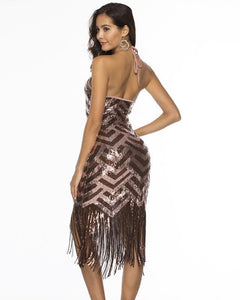Halter Open Back Geometric Sequin Fringe Latin Dance Party Pub Dress