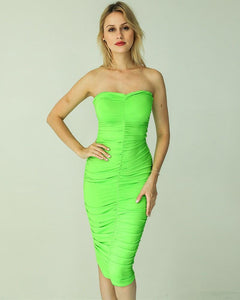 Green White Solid Color Strapless Ruched Midi Dress