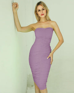Black Purple Solid Color Strapless Ruched Midi Dress