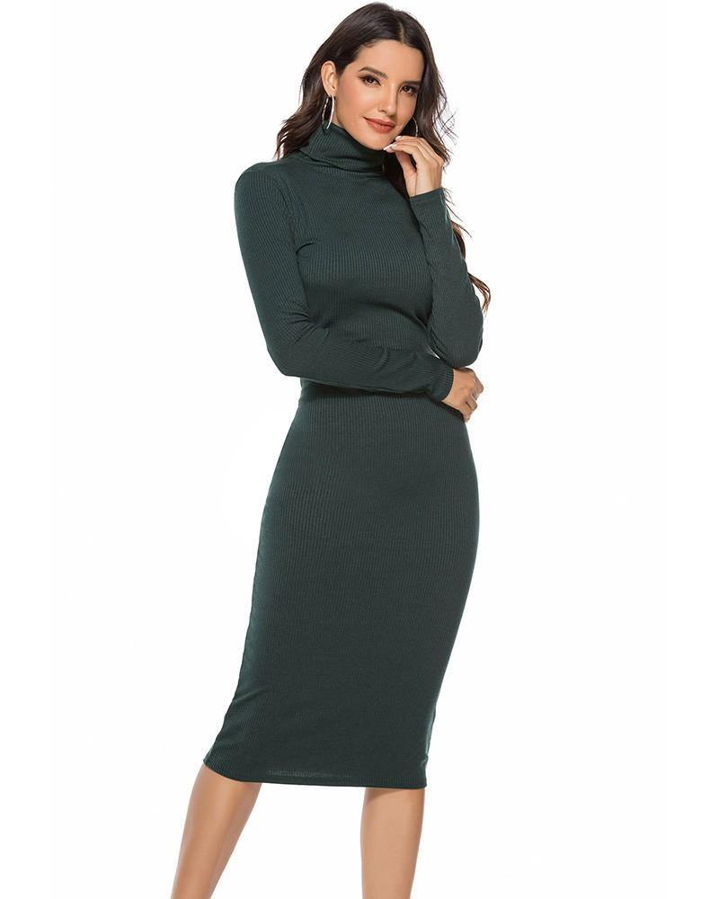 Green High Neck Ribbed Knitted Long Sleeve Sweater Dress