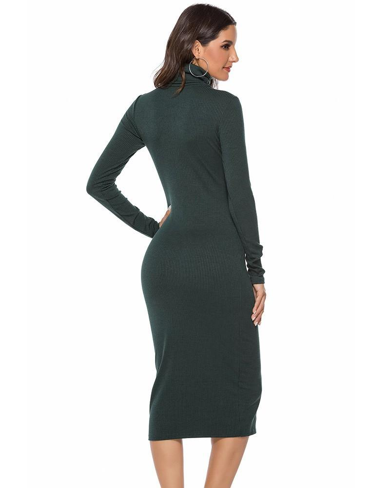 Green High Neck Ribbed Knitted Long Sleeve Sweater Dress - pinkfad