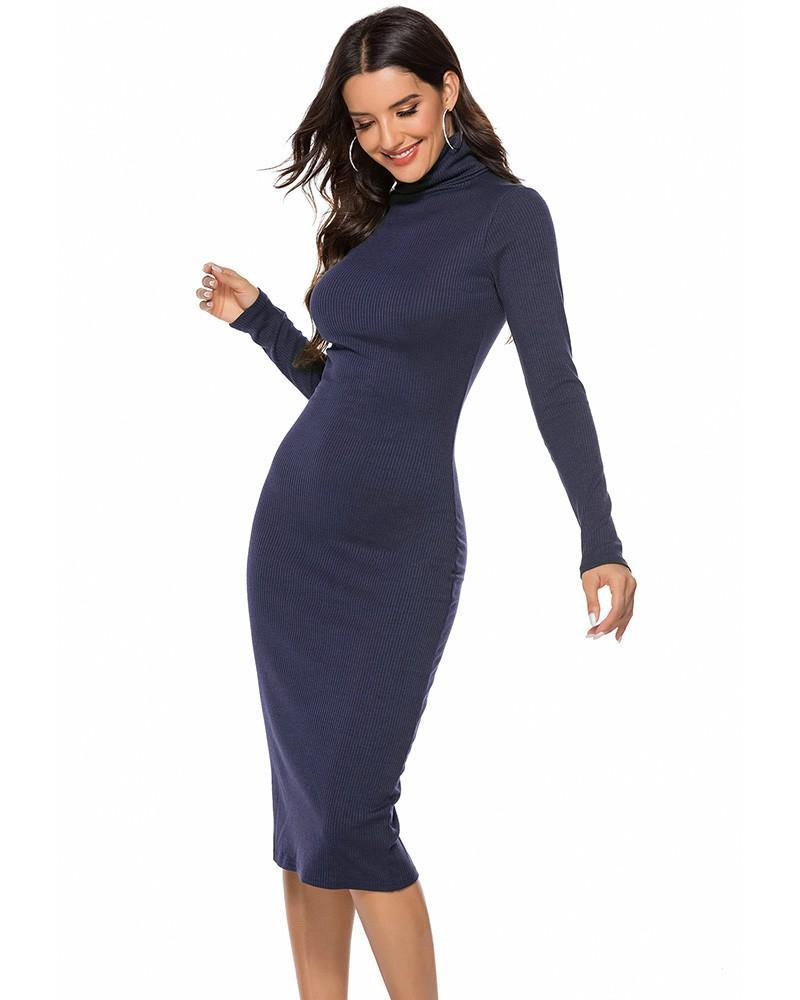 Blue Basic Long Sleeve High Neck Ribbed Knitted Sweater Dress