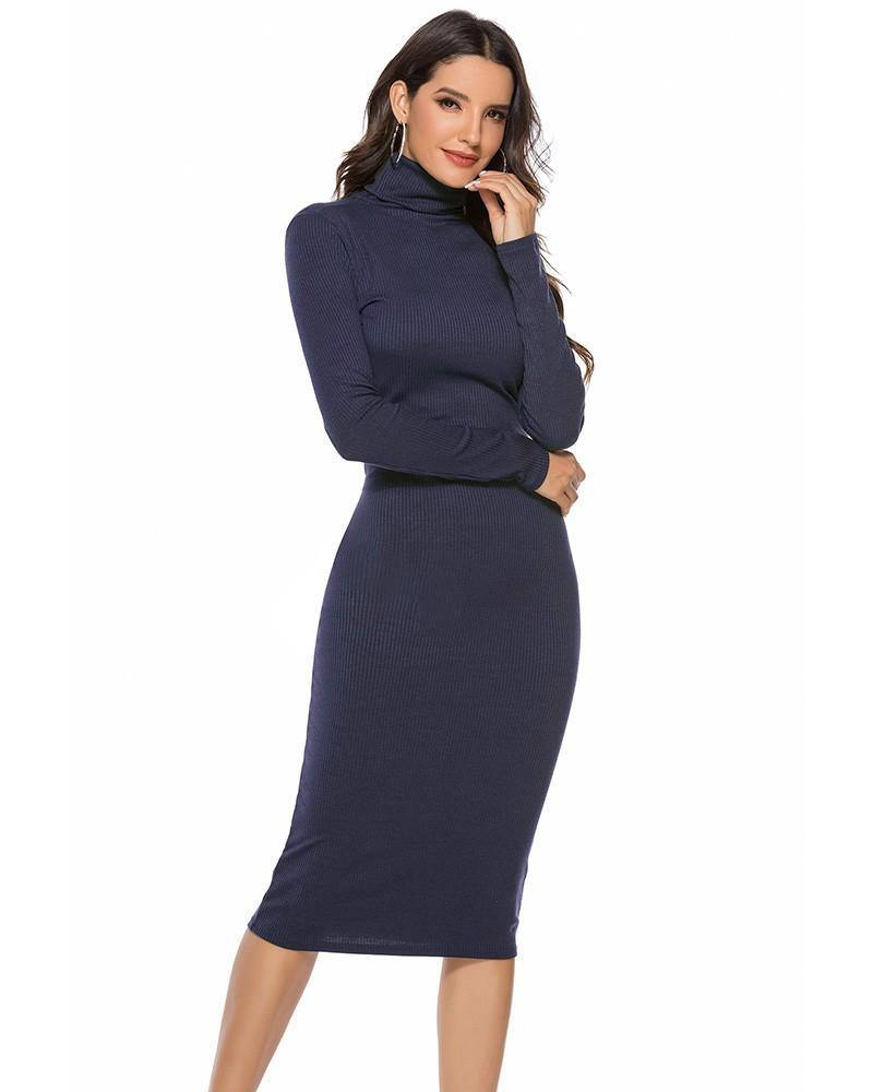 Blue Basic Long Sleeve High Neck Ribbed Knitted Sweater Dress - pinkfad