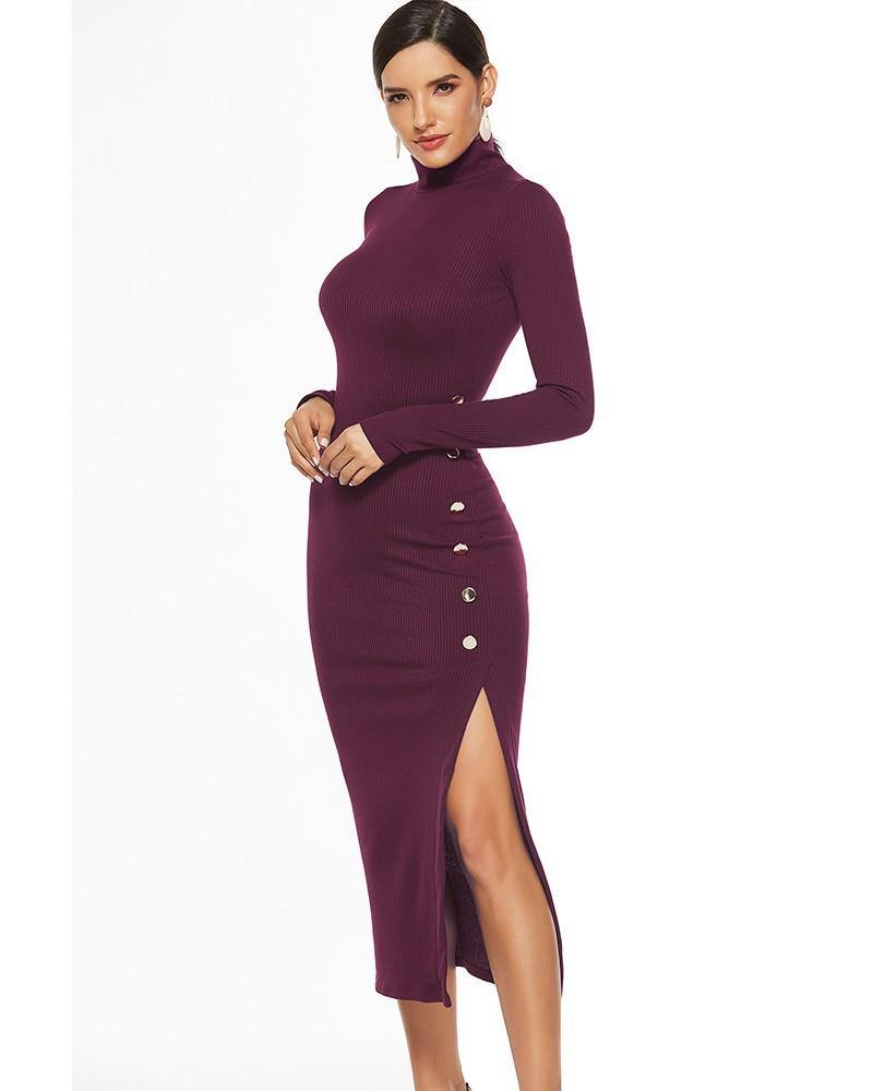 Dark Red Long Sleeve High Neck Knitted Side Button Split Sweater Dress