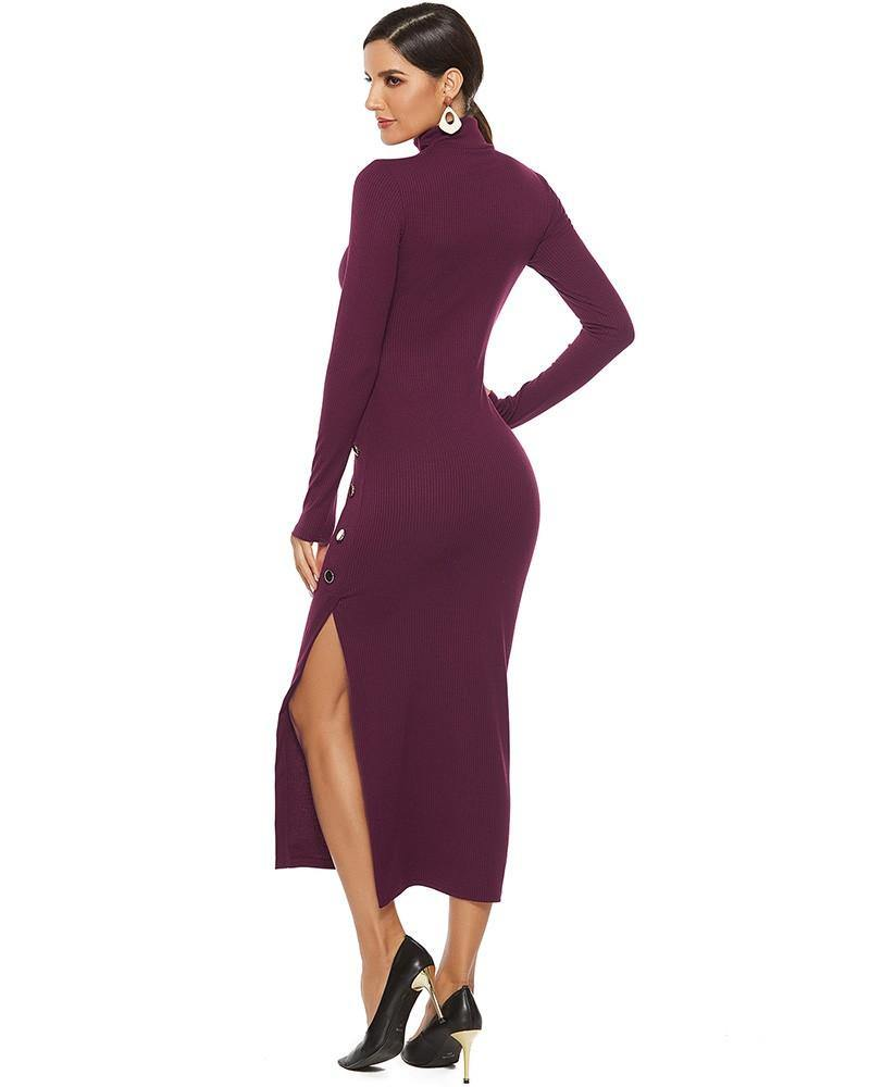 Dark Red Long Sleeve High Neck Knitted Side Button Split Sweater Dress - pinkfad