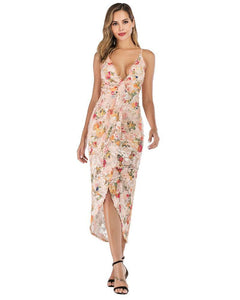 Floral Tassel Sequin Wrap Twist Front High Low Maxi Party Slip Dress