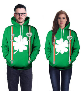 Green Clover Printed Unisex St. Patrick Pullover Hoodie
