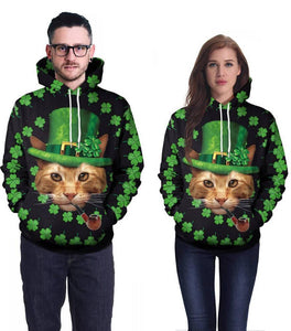 Cat In The Green Hat In The Clover Printed Unisex Pullover Hoodie