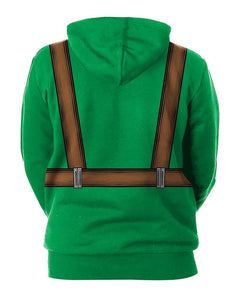 Baby Sling And Lucky Clover Printed Unisex Green Pullover Hoodie