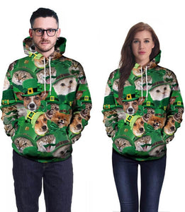 Green Puppy And Kitty In The Green Hat Printed Unisex Pullover Hoodie