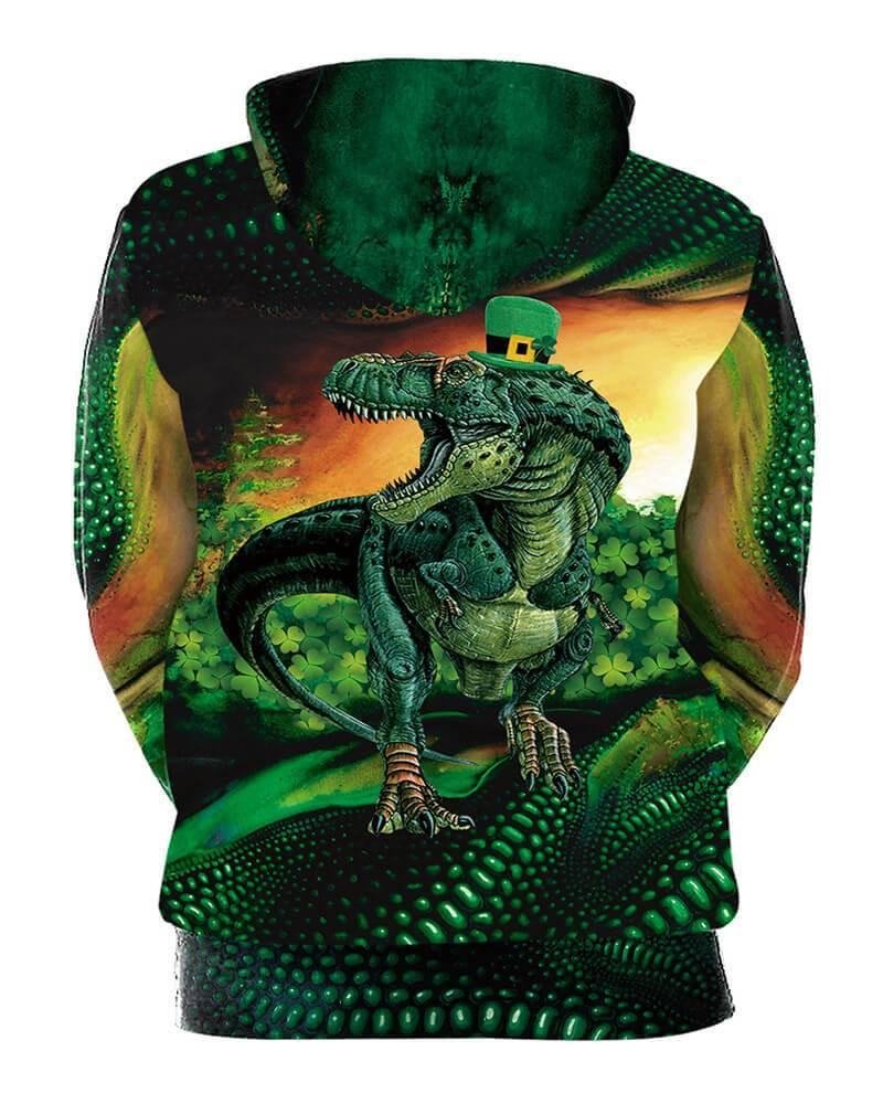 Green Velociraptor Printed Unisex Lucky Clover Pullover Hoodie