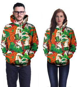 Unicorn In The Green Hat And Lucky Clover Print Unisex Pullover Hoodie