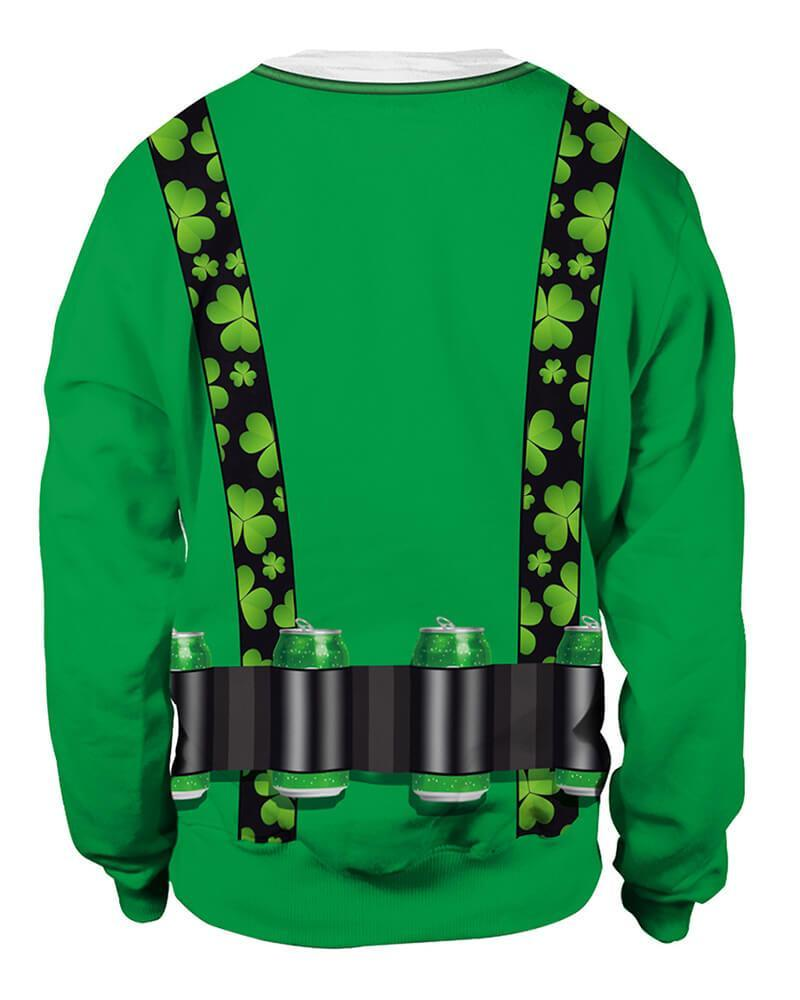 Bow Tie Clover Printed Unisex St. Patrick Green Pullover Sweatshirt