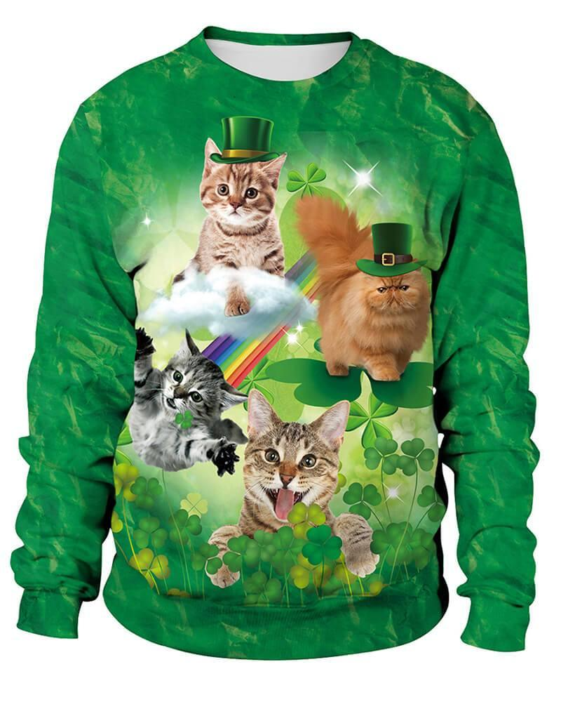 Kitty Fly Cat In The Clover Printed Unisex Patrick Green Sweatshirt