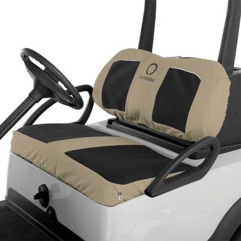 Classic Fairway Golf Cart Neoprene Bench Seat Cover-Blk/Khki