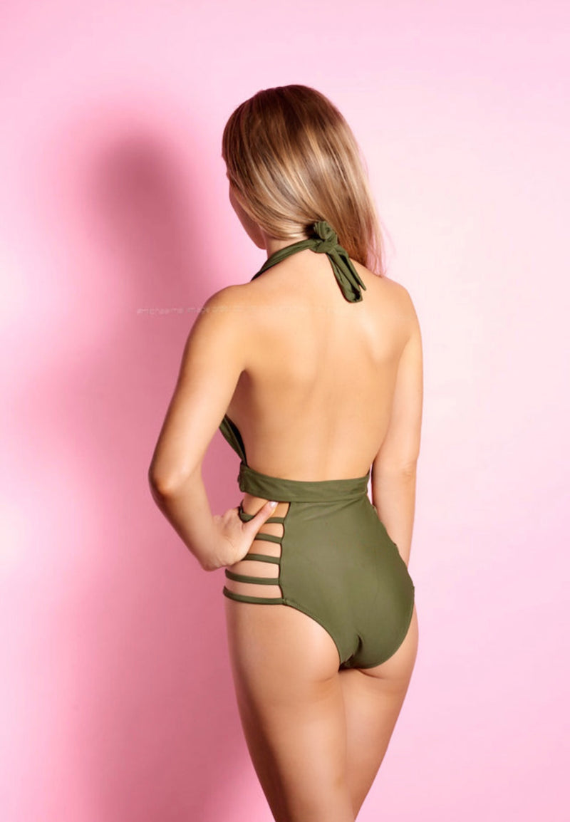 DrugOnFly Olive One Piece Swimsuit