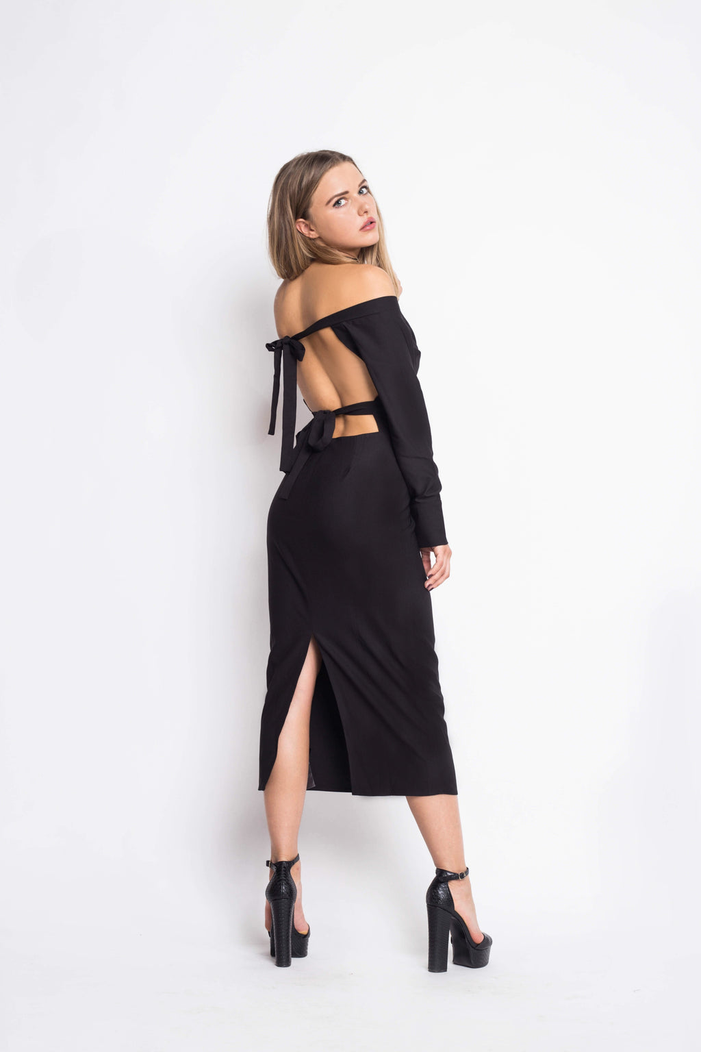 Black Midi Dress Open Back