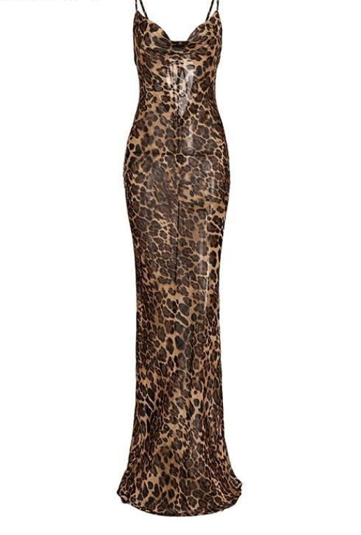 Leopard print maxi women dress