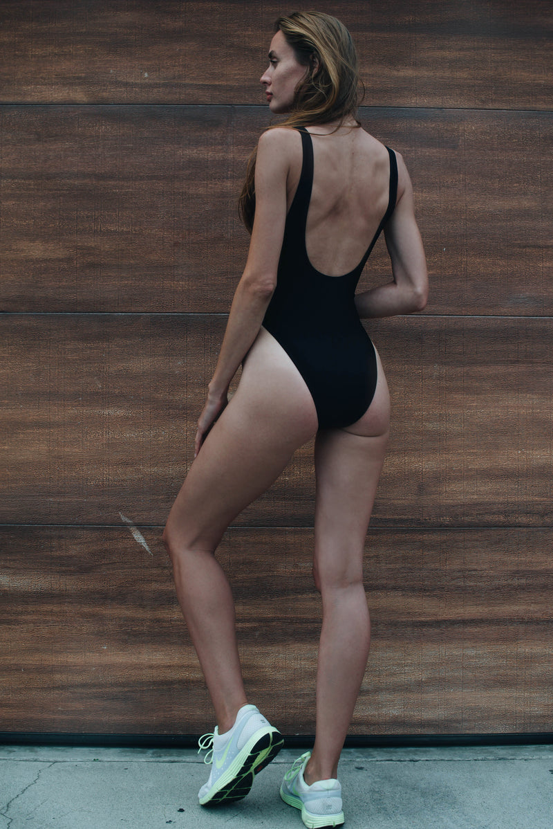 Black Solid High Cut One Piece Swimsuit