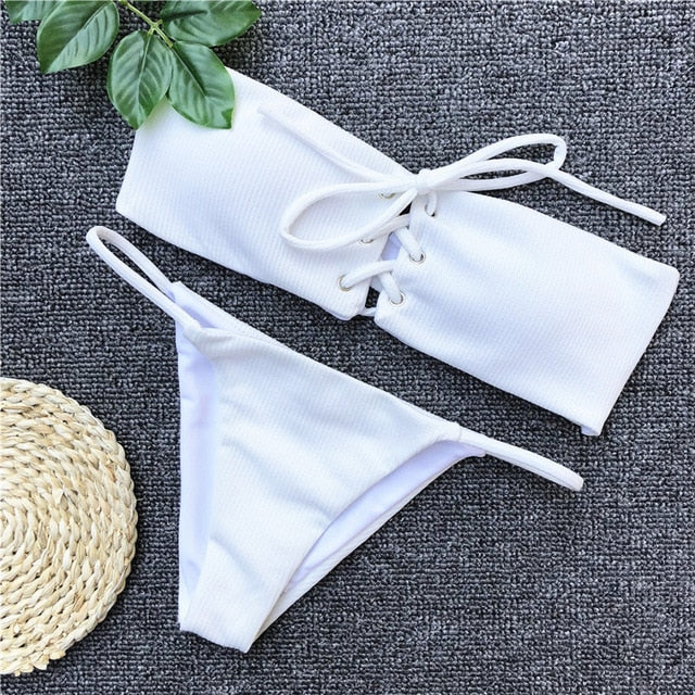 Two Piece Bikini Set V Neck Sport