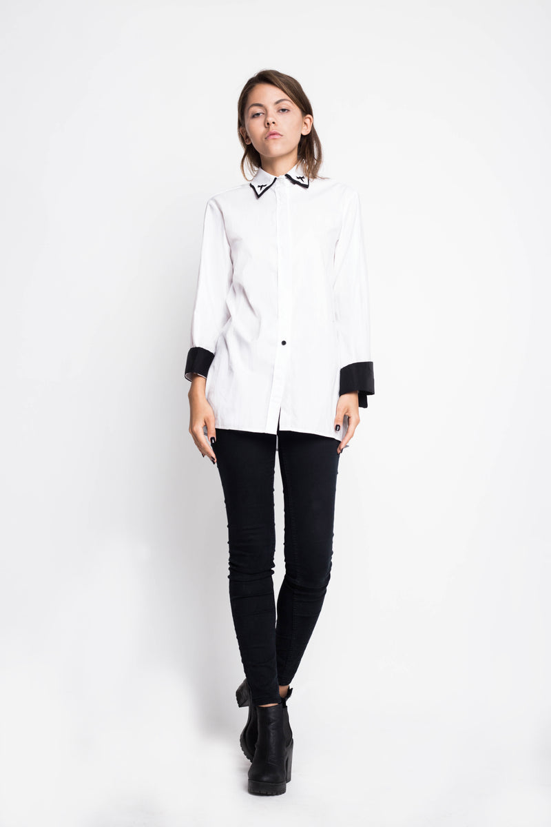 White Embroidered Collar Shirt