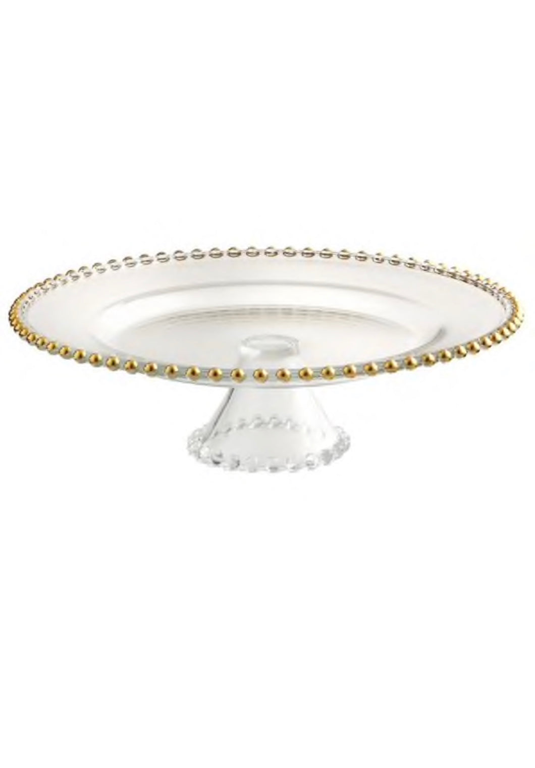 Glass Gold Beaded Cake Stand -  Modern Event & Wedding Rentals - Something Borrowed Minneapolis