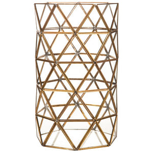 Tall Geometric Hurricane Candle Holder Gold - Modern Event & Wedding Rentals - Something Borrowed Minneapolis