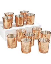 Load image into Gallery viewer, Copper Mercury Glass Candle Holders - Modern Wedding & Event Rentals - Something Borrowed Minneapolis
