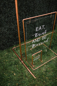 Customizable Tabletop Copper/Acrylic Sign *Rental*