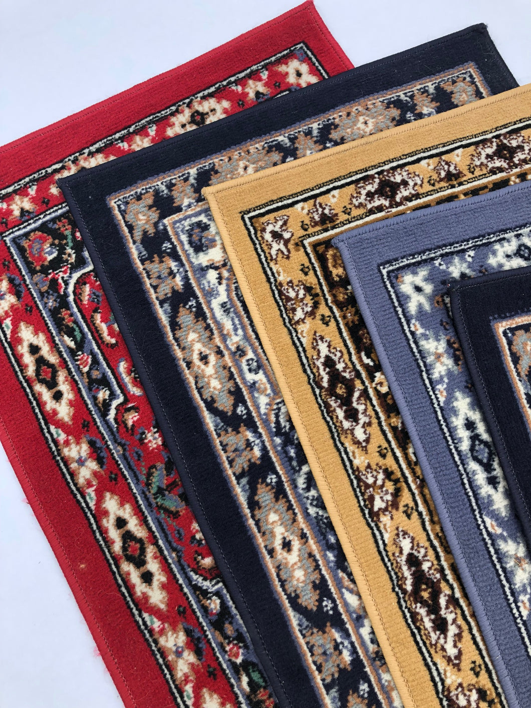 Aisle Runner Rugs - Red, navy, mustard oriental style vintage runners - Event and wedding rentals - Something Borrowed Minneapolis