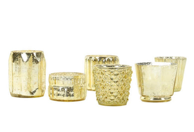 Champagne Gold Mercury Glass Candle Holder Mix Match Sets - Event and wedding rentals - Something Borrowed Minneapolis