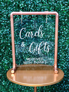 "Acrylic & Copper Tabletop Sign ""Cards & Gifts"" - Modern Event & Wedding Rentals - Something Borrowed Minneapolis"
