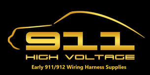 The 911 High Voltage logo which shows the silhouette of a 911 and the says 911 High Voltage, Early 911/912 Wiring Harness Supplies
