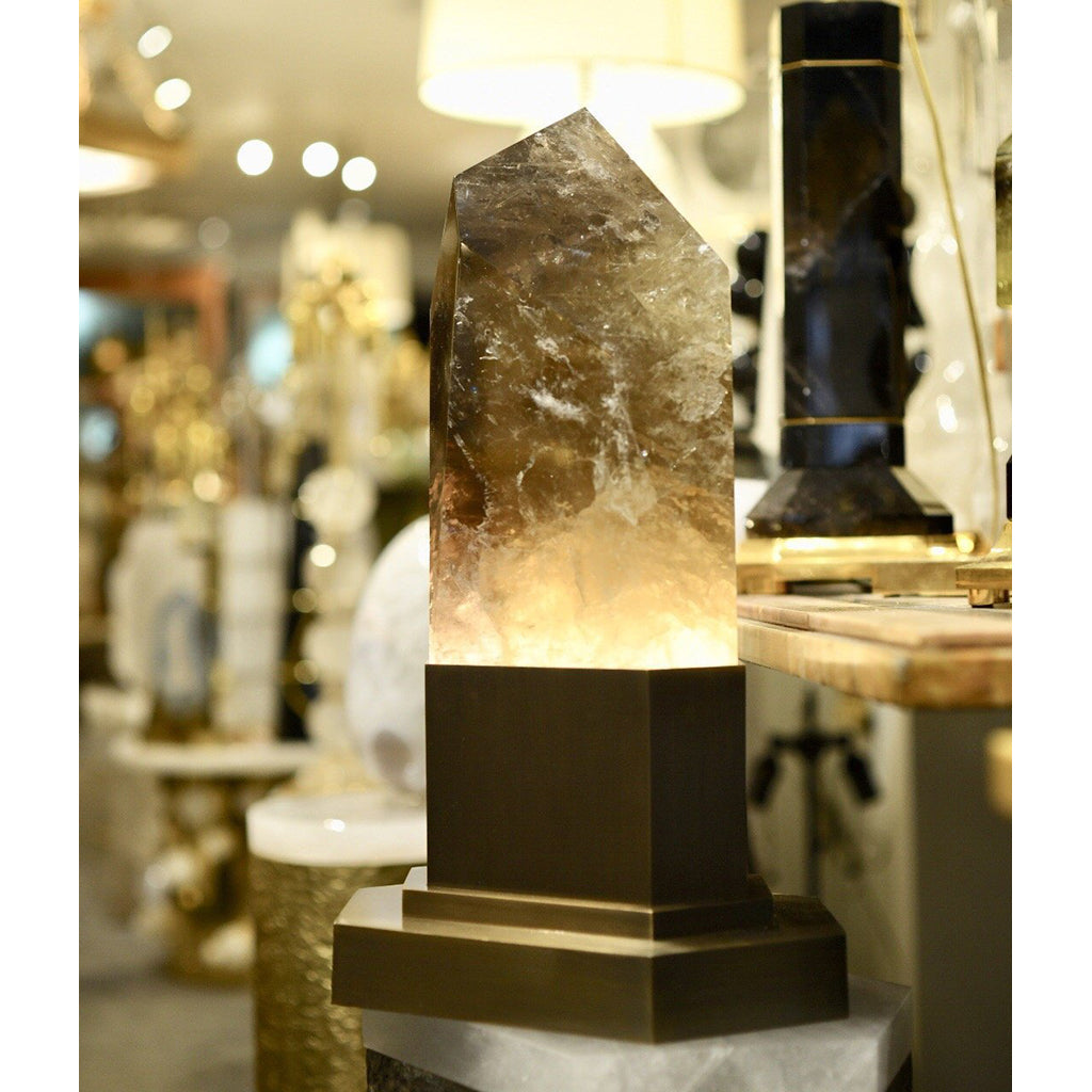 Smokey Crystal Obelisk with Custom Bronze Base Interior Lighting.