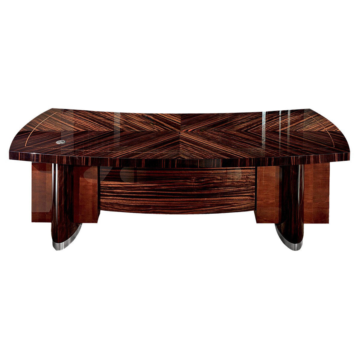 High Gloss Macassar Ebony Desk Zebra contrast accents