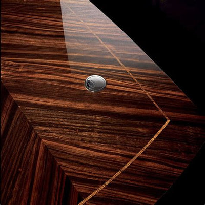 Desk Close up detail Macassar Ebony with Zebra Accent