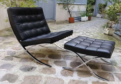 In Stock Modern, Ludwig Mies van der Rohe Barcelona Chair & Ottoman Set