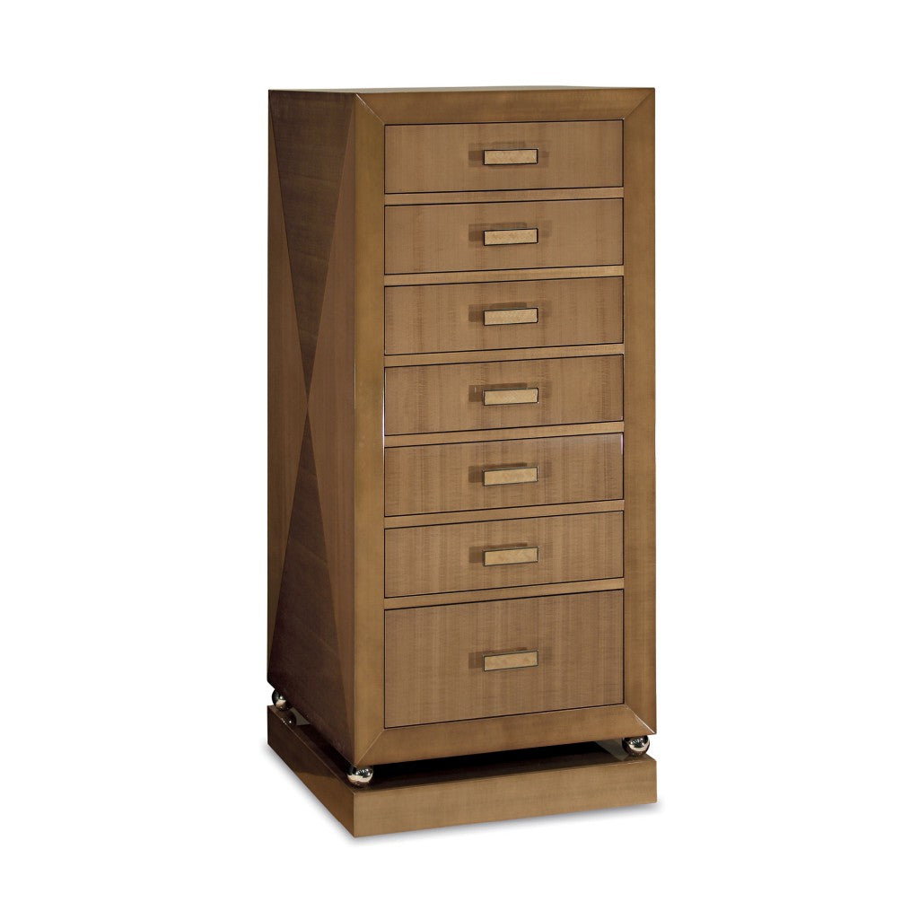 Silver Sycamore high Gloss Tall Chest