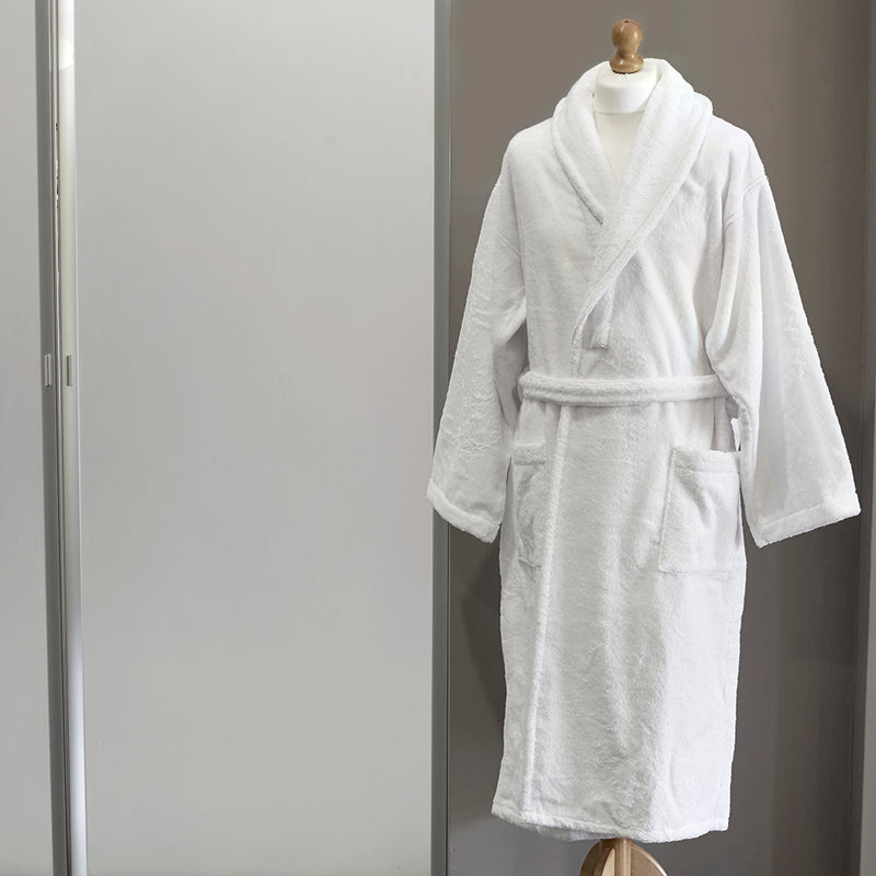 White Terry Bath Robe on mannequin form
